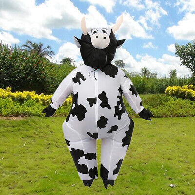 Adults Cow Inflatable Costume Blow Up Xmas Halloween Fancy Dress Outfit Funny - Cow Blow Up Costume