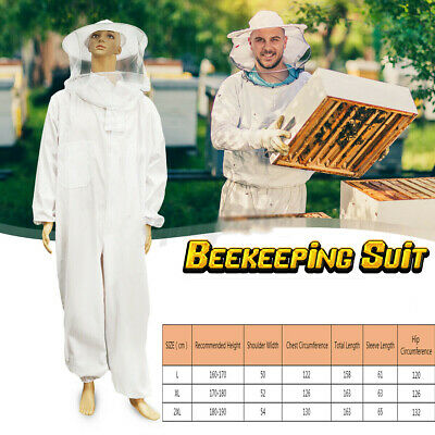 L Professional Cotton Full Body Beekeeping Bee Keeping Suit W Veil Hood White