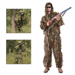 Leaf Ghillie Suit Woodland Camo Camouflage Clothing 3D jungle Hunting L / XL