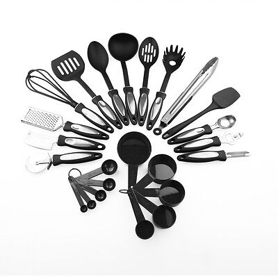 24 Piece Stainless Steel Cooking Utensil Set Nylon Handles Kitchen Gadget Tools