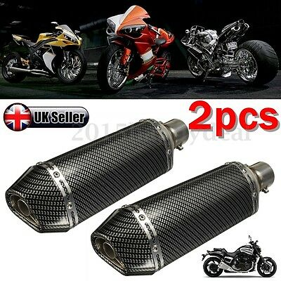Pair 38-51MM Universal Motorcycle Carbon Fiber Exhaust Muffler Street Bike -UK