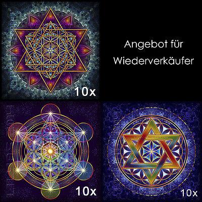 RESELLER - 3x 10 Blume des Lebens Metatrons Würfel Merkabah Hexagramm Aufkleber