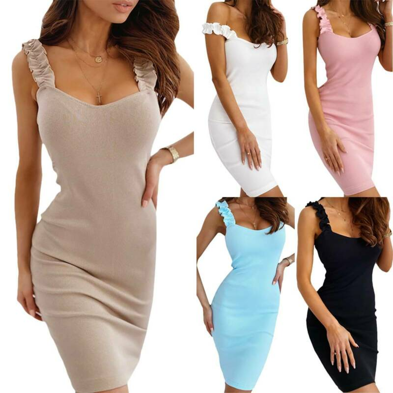 Women's Casual Bodycon Mini Dress Ladies Party Cocktail Holiday Beach Sundress Clothing, Shoes & Accessories