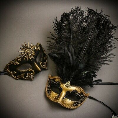 Luxury Black Gold Men & Women Couple Masks Masquerade Costume Party Mask Feather (Women Couple Costumes)