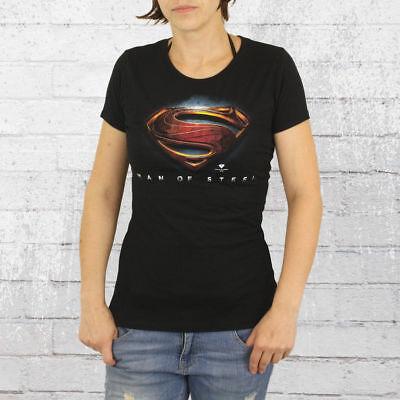 Logoshirt T-Shirt Damen Superman Logo Man Of Steel schwarz Frauen Ladies Women's