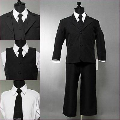 Boys Black formal suit Fancy wedding Christmas Holiday set long tie vest - Black Boys Suits