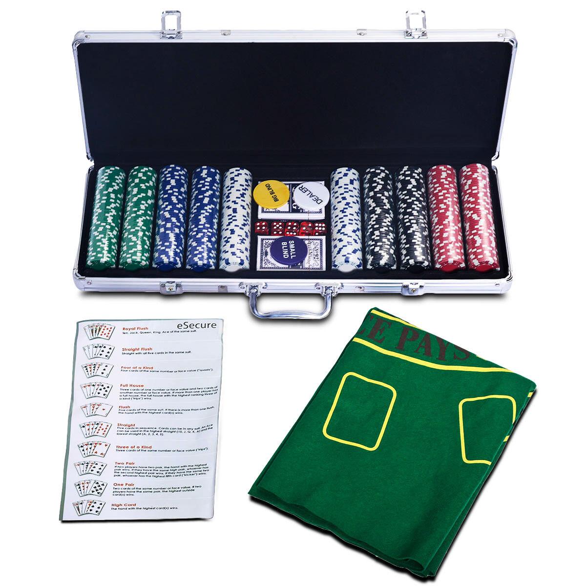 Pokerkoffer Pokerset Poker Set 500 Laser Chips Pokerchips + Tuch + 2 Pokerdecks