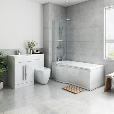 Bathroom Suite Left Hand P Shape Shower Bath Left Basin Vanity Toilet Furniture