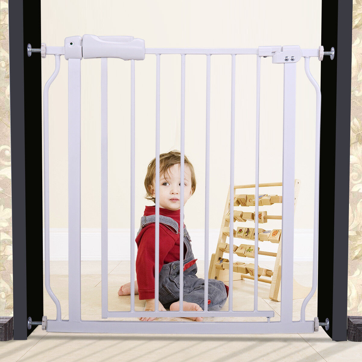White Baby Safety Gate Fence Extra Wide Walk Through Bay Sec