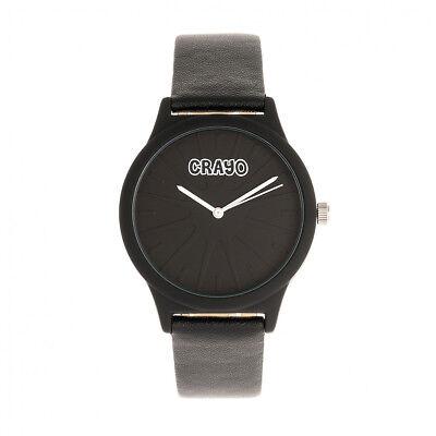 Crayo Splat Black Leatherette Strap Unisex Watch CRACR5302 Black Leatherette Strap Watch