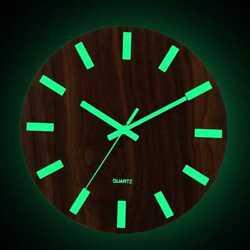 Wood Luminous Wall Clock 12 Inchs Silent Quartz Glow Hanging Watch Home Decor