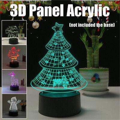 3D Color Change Deer Tree Snowman USB Acrylic Board Plate Night Light -