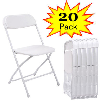 (20 PACK) Commercial Wedding Quality Stackable Plastic Folding Chairs White