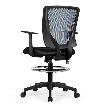 Adjustable Mesh Drafting Chair Ergonomic Mid Back Computer Office Task Chair New