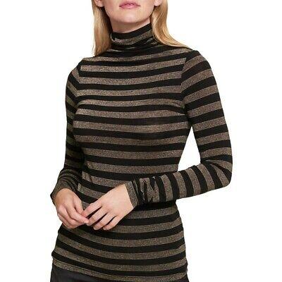 TOMMY HILFIGER Women's Metallic Striped Turleneck Casual Shirt Top TEDO