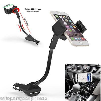 360  Adjustable Car Smartphone Mount Holder Dual Usb Charger For Iphone Samsung