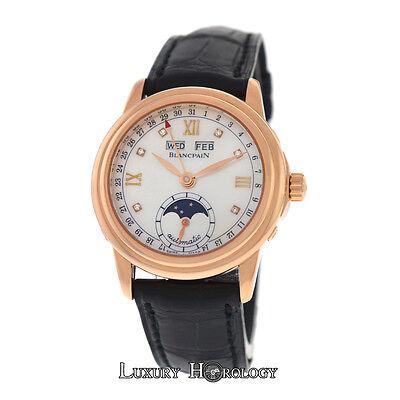 Blancpain Leman Triple Calendar Moonphase 18K Rose Gold MOP Diamond 33MM Watch