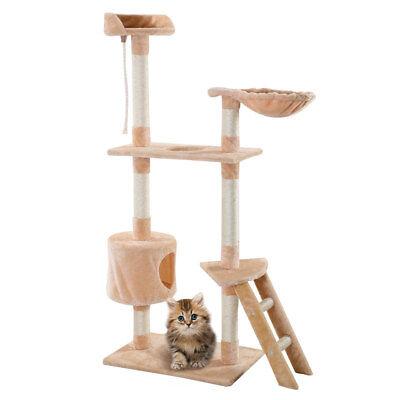 "New 60"" Cat Tree Tower Condo Scratcher Furniture Kitten Pet House Hammock Beige"