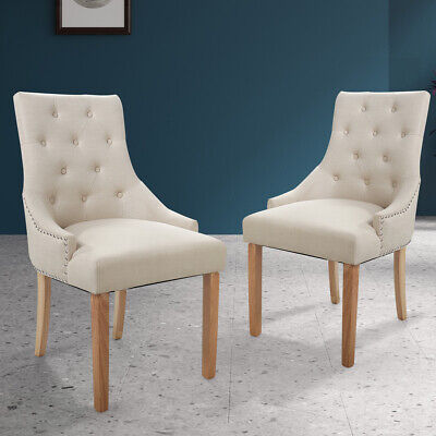 Set of 2 Fabric Armless Chairs Dining Room Chair Tufted Design Solid Wood Beige