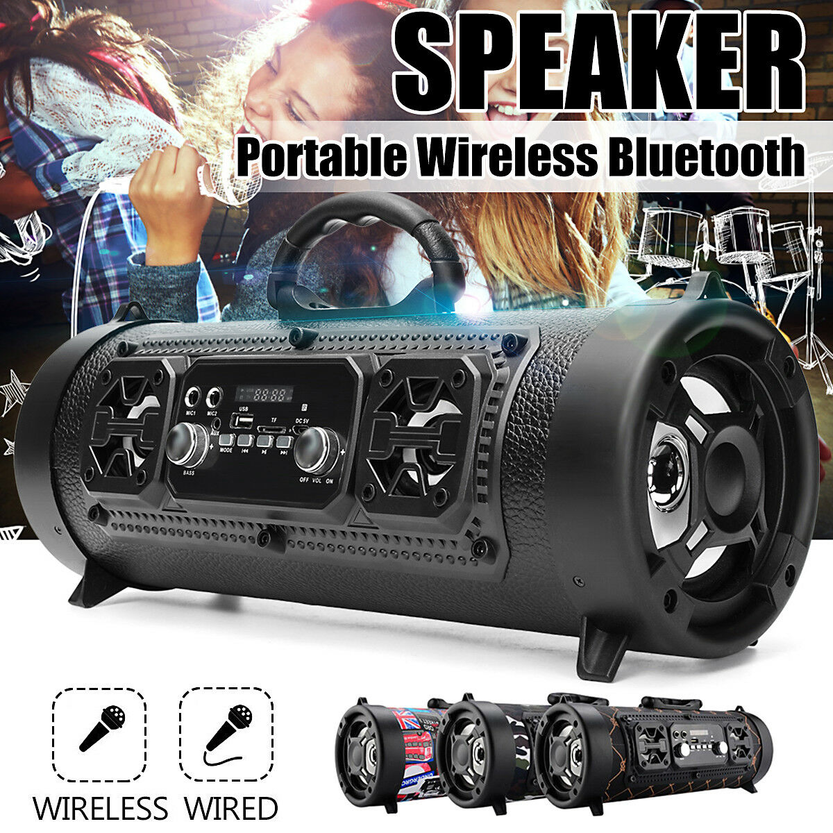 Portable Wireless Bluetooth Speaker FM Bass Stereo Radio HIFI Xmas Party Music