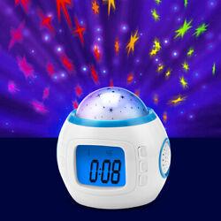 LED Star Sky Projection Lamp  Digital Alarm Clock Kids Music Calendar Thermomet