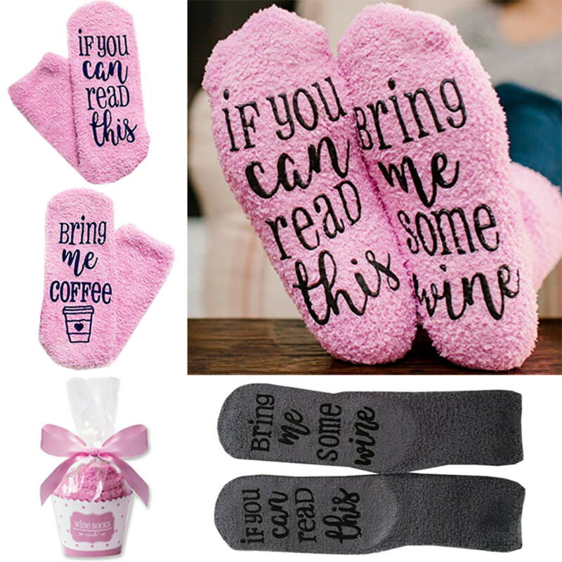 """If You Can Read This Bring Me Some Wine"" Lustige Socken Warme Cupcake Damen DE"