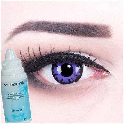 Farbige Fun Crazy Kontaktlinsen Halloween Fasching Toxic Plum lila Komplettset