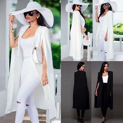 Women's Long Trench Poncho Cape Coat Jacket Blazer Suit Shawl Plus Cloak Outwear