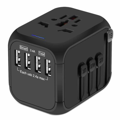 Travel Adapter, Worldwide International Adapter, 4 USB Ports - Black