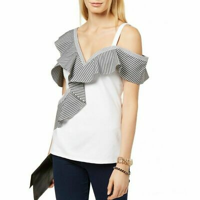 Inc Womens Blouse White Size 3x Plus Ruffled Striped One Shoulder $69 616