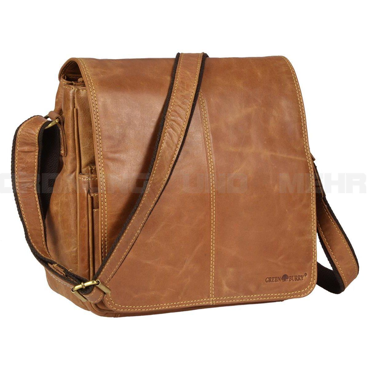 00d1a7d310e14 Greenburry Tasche Umhängetasche Expedition Herren Damen braun Leder viele  Fächer