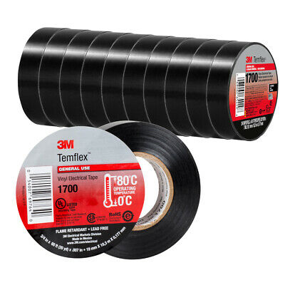 10 Rolls 3m Temflex 1700 Vinyl Black Electrical Tape 34 X 60 Ft 10 Pack