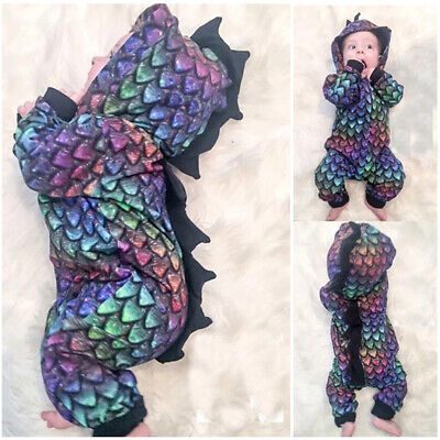 Halloween Outfit Baby (Halloween Newborn Baby Boys Girls Dinosaur Hooded Romper Playsuit Outfit)