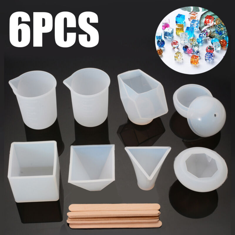 6Pcs Resin Casting Molds DIY Silicone Molds Epoxy Resin + Me