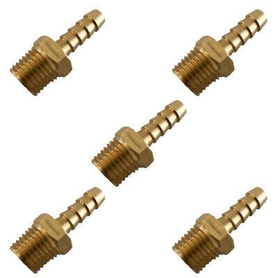 5pc 14 Od Barb X 14 Male Npt Brass Hose Barb Air Fuel Oil Liquid