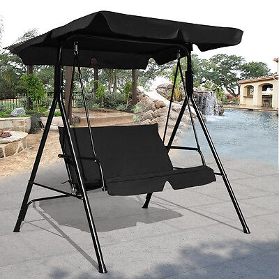 Loveseat Patio Canopy Swing Glider Hammock Cushioned Steel Frame Outdoor Black