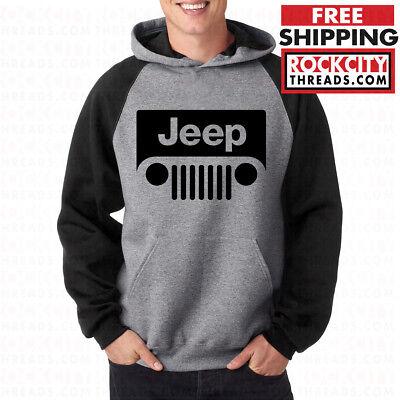 JEEP RAGLAN HOODIE Hooded Pullover Sweatshirt Wrangler Cherokee Road Grey Black