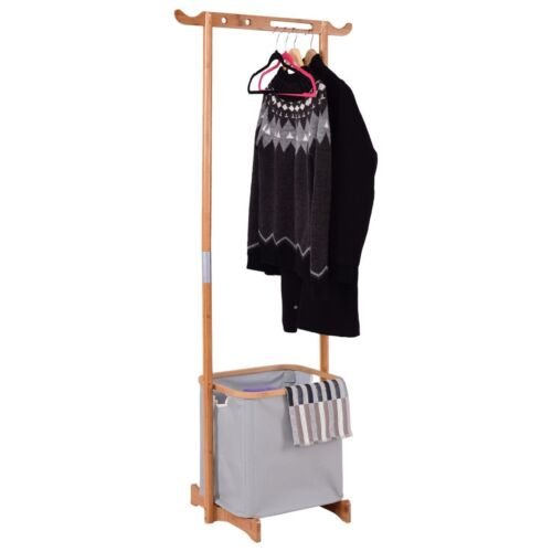 Sturdy Laundry Hamper Garment Hanger Rack Basket Organizer B