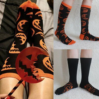 Halloween Pumpkin Holiday Long Socks Casual Women Men Onesize PRINT Stocking