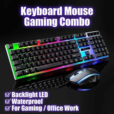 Kit Completo Tastiera Mouse USB LED Gaming Ketboard RGB Retroilluminata Per PC