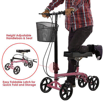 Clevr Medical Foldable Steerable Knee Walker Scooter with Basket, Pink