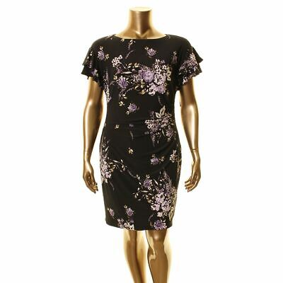 LAUREN RALPH LAUREN NEW Women's Latoya Floral Ruched Sheath Dress 16 TEDO