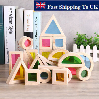 Wooden Construction Toys (24 Pcs Baby Wooden Rainbow Blocks Construction Building Toy Set Stacking)