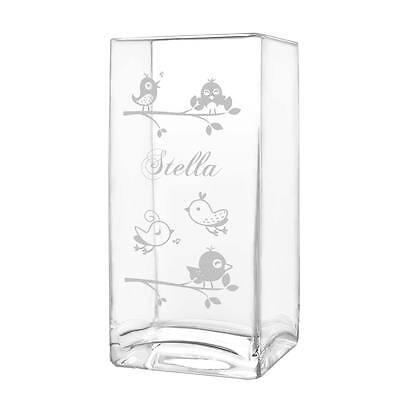 Große Rechteckige Glas (große Blumenvase Vase inkl. Gravur Motiv singende Vögelchen auf dem Ast)