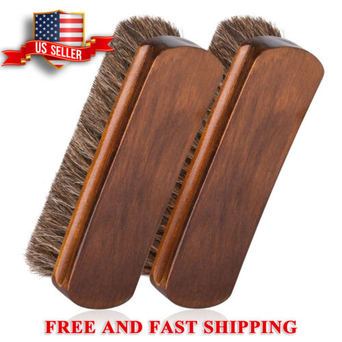 """Shoe Shine Brushes 2 Pack 100% Horsehair 6.7"""" Large Size  for Boots,Shoe,Leather"""