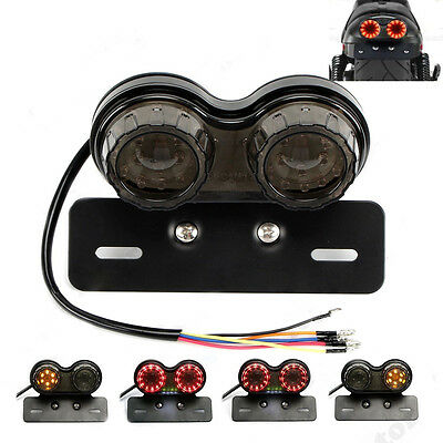 Motorcycle LED Twin Dual Tail Turn Signal Brake License Plate Integrated Light t