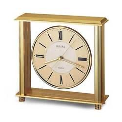 Bulova B1700 Tabletop Grand Prix Antique Brass Finish Desk Clock