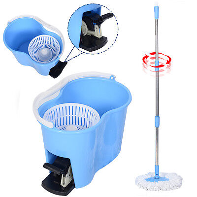 Microfiber Spinning Mop Easy Floor Mop W/Bucket 2 Heads 360 Rotating Head Blue