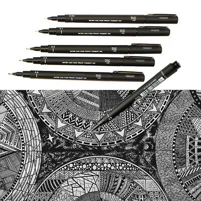Set of 5 Uni Ball Pin Pigment Fineliner Drawing Pen Black Archival (Pigment Ink Pen)