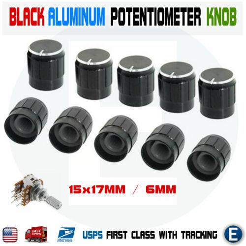 10Pcs Black Knob Cap Aluminum Alloy Potentiometer Rotary Shaft 15x17mm WH148